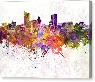 Fort Wayne Skyline In Watercolor Background Canvas Print by Pablo Romero