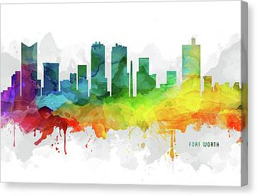 Fort Worth Skyline Mmr-ustxfw05 Canvas Print by Aged Pixel