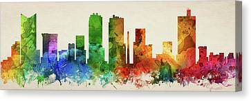 Fort Worth Skyline Panorama Ustxfw-pa03 Canvas Print by Aged Pixel