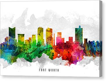 Fort Worth Texas Cityscape 12 Canvas Print by Aged Pixel