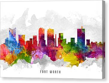 Fort Worth Texas Cityscape 13 Canvas Print by Aged Pixel
