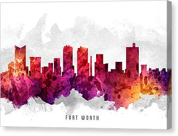 Fort Worth Texas Cityscape 14 Canvas Print by Aged Pixel