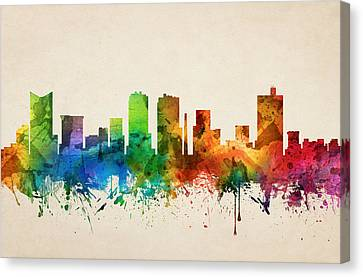 Fort Worth Texas Skyline 05 Canvas Print by Aged Pixel