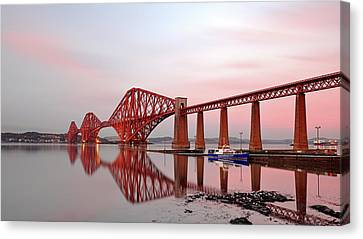 Canvas Print featuring the photograph Forth Railway Bridge Sunset by Grant Glendinning