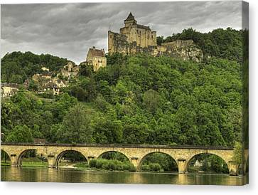 Fortified Castle Of Beynac In Dordogne France Canvas Print by Arabesque Saraswathi