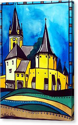 Canvas Print featuring the painting Fortified Medieval Church In Transylvania By Dora Hathazi Mendes by Dora Hathazi Mendes