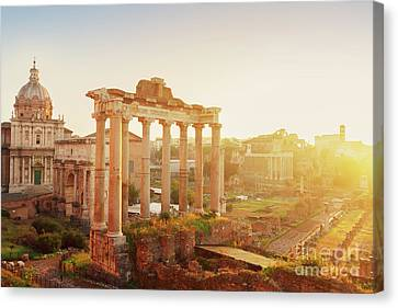 Forum - Roman Ruins In Rome At Sunrise Canvas Print by Anastasy Yarmolovich