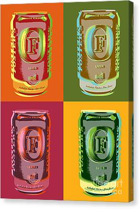 Canvas Print featuring the digital art Foster's Lager Pop Art by Jean luc Comperat