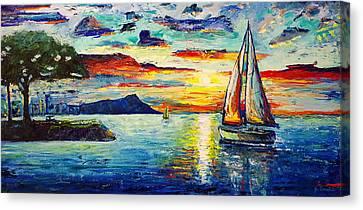Diamond Head Canvas Print - Foster's Point Sunrise by Jo Gerrior
