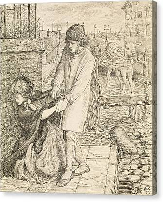 Rossetti Canvas Print - Found - Compositional Study by Dante Gabriel Rossetti