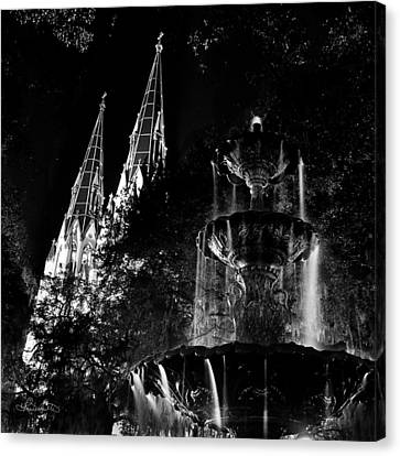 Fountain And Spires Canvas Print
