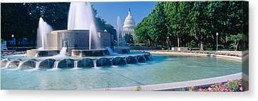 Fountain And Us Capitol Building Canvas Print by Panoramic Images