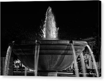 Fountain At Night Canvas Print