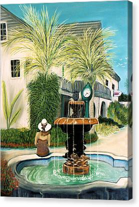 Fountain At St. Augustine Canvas Print by Jan Amiss