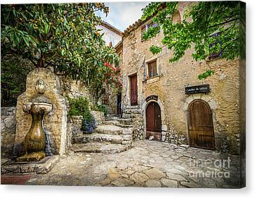 Fountain Courtyard In Eze, France 2 Canvas Print