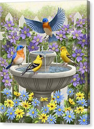 Fountain Festivities - Birds And Birdbath Painting Canvas Print by Crista Forest