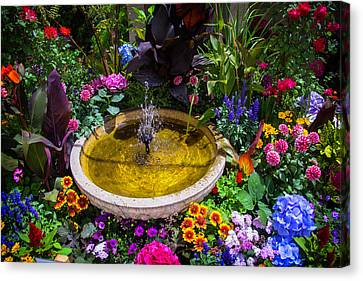 Fountain In Beautiful Garden Canvas Print by Garry Gay