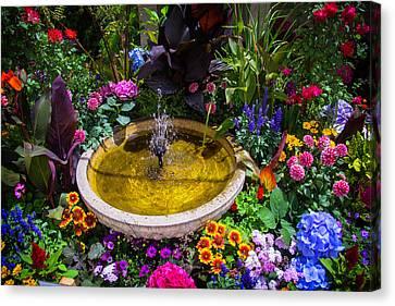 Hidden Canvas Print - Fountain In Beautiful Garden by Garry Gay