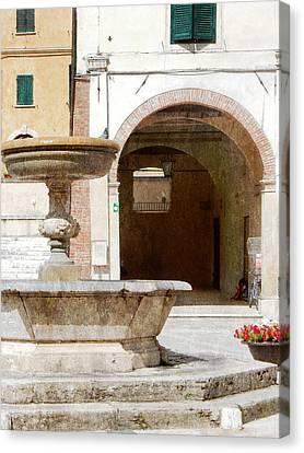 Fountain In The Main Square Cetona Canvas Print by Dorothy Berry-Lound