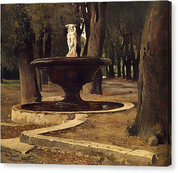 Fountain In The Park Of Villa Borghese In Rome Canvas Print by Mountain Dreams
