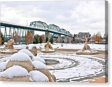 Fountain In Winter Canvas Print