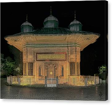Fountain Of Sultan Ahmed The Third Canvas Print