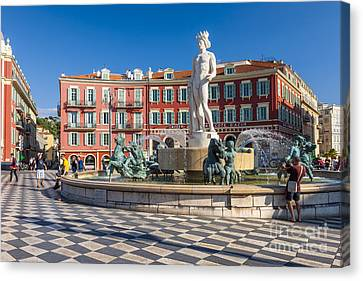 Fountain Of The Sun At Place Massena In Nice Canvas Print by Elena Elisseeva