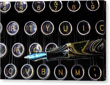Fountain Pen On Typewriter Keys Canvas Print by Garry Gay