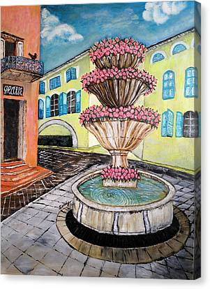 Fountain Square In Grasse, Southern France Canvas Print by Jo lan Tao