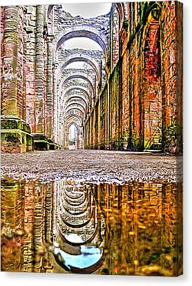 Canvas Print featuring the photograph Fountains Abbey by Gouzel -
