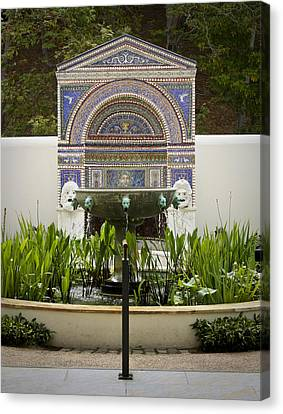 Fountains At The Getty Villa Canvas Print by Teresa Mucha