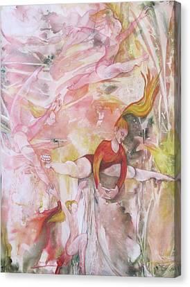 Four Acrobats Canvas Print by Georgia Annwell