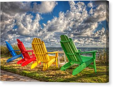 Adirondack Chairs On The Beach Canvas Print - Four Chairs At The Beach by Debra and Dave Vanderlaan