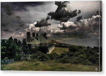 Canvas Print featuring the photograph Four Chimneys In A Cuttyhunk Storm by Wayne King