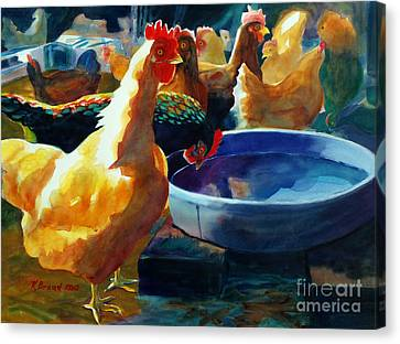Four Clucks Canvas Print by Kathy Braud