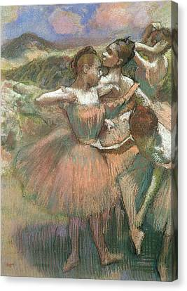 Four Dancers On Stage Canvas Print by Edgar Degas