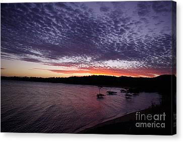 Canvas Print featuring the photograph Four Elements Sunset Sequence 7 Coconuts Qld  by Kerryn Madsen - Pietsch