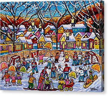 Four Fiddlers On The Roof Tops Hockey Art Snowy Winter Wonderland Skaters Skiers Sleds Umbrellas  Canvas Print by Carole Spandau