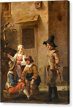 Four Figures Conversing In The Courtyard Of An Italian House Canvas Print by MotionAge Designs