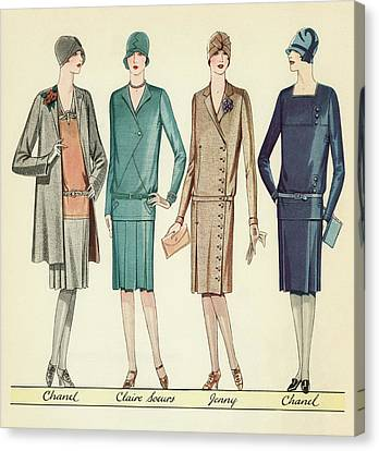 Four Flappers Modelling French Designer Outfits, 1928 Canvas Print by American School