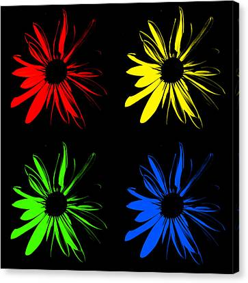 Canvas Print featuring the photograph Four Flowers by Maggy Marsh