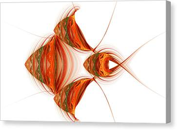 Canvas Print featuring the digital art Four Fractal Fishies by Richard Ortolano