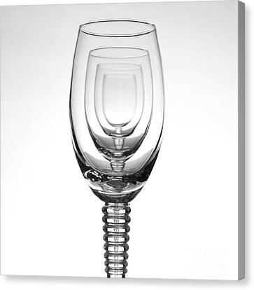 Wine Reflection Art Canvas Print - Four Glasses by Andreas Berheide