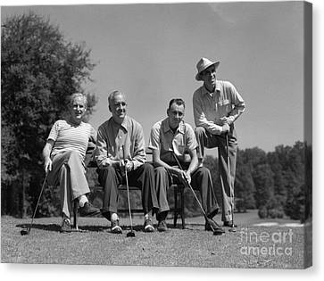 Four Golfers, C.1940-50s Canvas Print by H. Armstrong Roberts/ClassicStock
