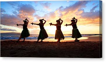 Four Hula Dancers At Sunset Canvas Print
