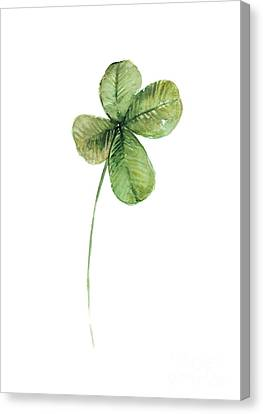 Four Leaf Clover Watercolor Poster Canvas Print by Joanna Szmerdt