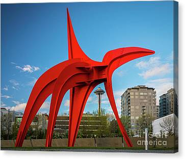 Pacific Northwest Ferry Canvas Print - Four Legged Red And Space Needle by Inge Johnsson