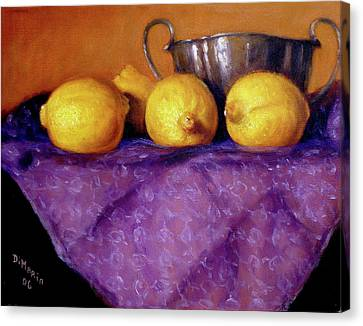 Canvas Print featuring the painting Four Lemons by Donelli  DiMaria