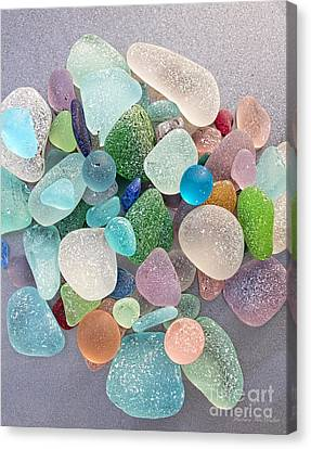 Four Marbles And A Rainbow Of Beach Glass Canvas Print by Barbara McMahon