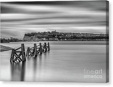 Four Minutes At Cardiff Bay Mono Canvas Print by Steve Purnell